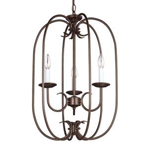 Holman Bell Metal Bronze Three-Light Chandelier
