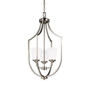 Hanford Brushed Nickel Three-Light Lantern Pendant