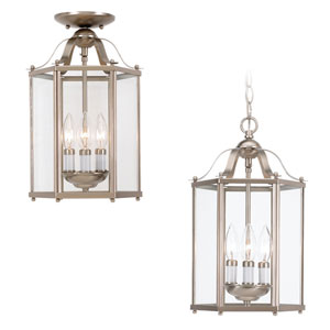 Brushed Nickel Three-Light Ceiling Fixture