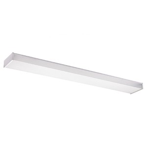 White 48-Inch Long Two-Light Fluorescent Flush Mount