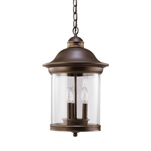 Hermitage Antique Bronze 11-Inch Energy Star Three-Light Outdoor Pendant