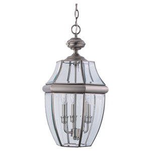 Curved Beveled Nickel Outdoor Hanging Lantern