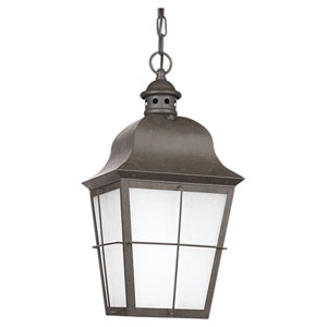 Chatham Oxidized Bronze LED Outdoor Pendant with Clear Seeded Glass