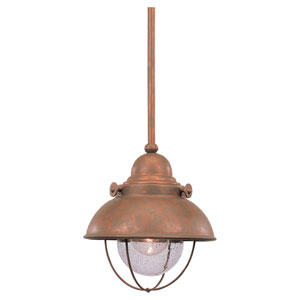 Sebring Weathered Copper LED Mini Pendant with Clear Seeded Glass