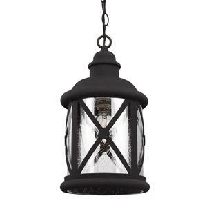 Lakeview Black One-Light Outdoor Pendant with Clear Seeded Glass