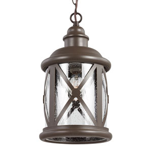 Lakeview Antique Bronze One-Light Pendant with Clear Seeded Glass