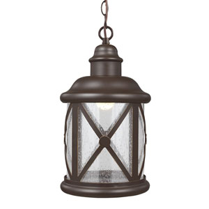 Lakeview Antique Bronze LED Outdoor Pendant with Clear Seeded Glass