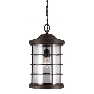 Sauganash Antique Bronze One Light Outdoor Pendant with Clear Seeded Glass