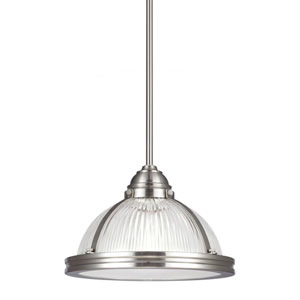 Pratt Street Prismatic Brushed Nickel One Light Pendant with Prismatic Glass