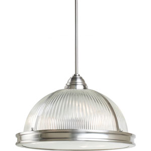 Pratt Street Prismatic Brushed Nickel  Three-Light Pendant