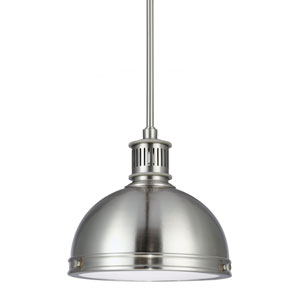 Pratt Street Metal Brushed Nickel One Light Pendant with with Glass Diffuser