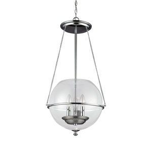 Havenwood Chrome Three-Light  Small Pendant with Clear Glass