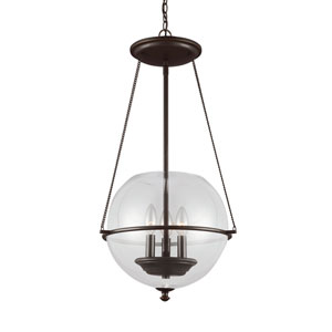 Havenwood Autumn Bronze Three-Light  Small Pendant with Clear Glass