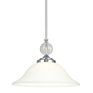 Englehorn Chrome and Optic Crystal 11-Inch One Light Pendant