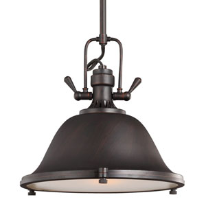 Stone Street Bronze One-Light Pendant with Satin Etched Glass Diffuser