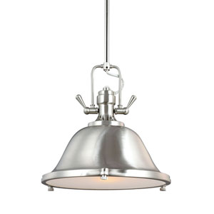 Stone Street Brushed Nickel One-Light Pendant with Satin Etched Glass Diffuser