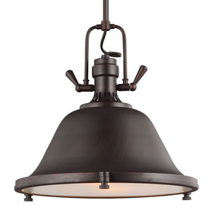Stone Street Bronze Two-Light  Pendant with Satin Etched Glass Diffuser