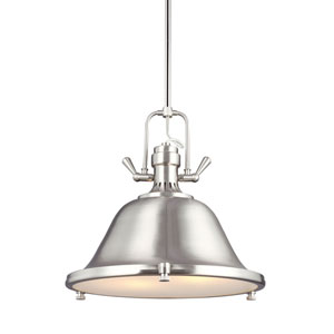 Stone Street Brushed Nickel Two-Light  Pendant with Satin Etched Glass Diffuser