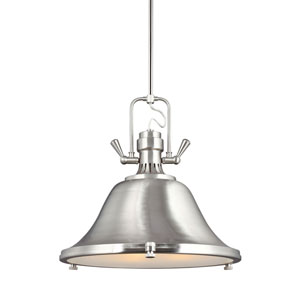 Stone Street Brushed Nickel Three-Light  Pendant with Satin Etched Glass Diffuser