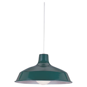 Painted Shade Emerald Green One-Light Pendant