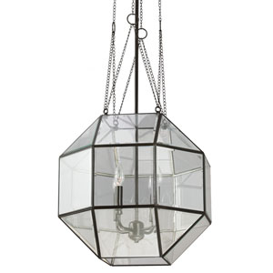 Lazlo Heirloom Bronze 31.75-Inch Four Light Pendant with Clear Beveled Glass
