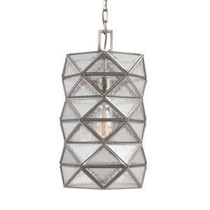 Harambee Antique Brushed Nickel Medium One-Light Pendant with Seeded Water Glass