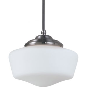 Academy Brushed Nickel Large LED One Pendant with Satin White Schoolhouse Glass