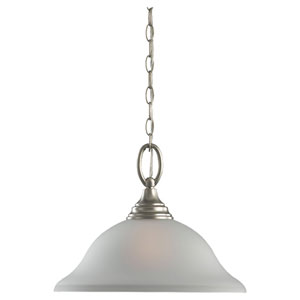Wheaton One-Light Brushed Nickel Pendant with Satin Etched Glass
