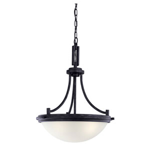 Winnetka Three-Light Blacksmith Pendant with Satin Etched Glass