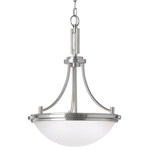Winnetka Brushed Nickel Three Light Pendant with Satin Etched Glass