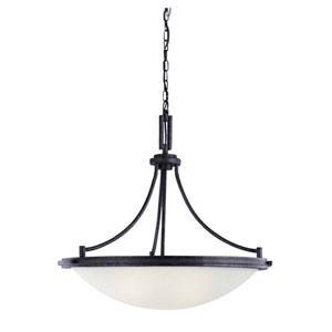 Winnetka Four-Light Blacksmith Pendant with Satin Etched Glass