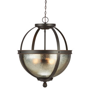 Sfera Autumn Bronze Three Light Pendant with Mercury Glass