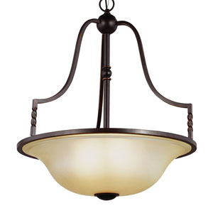 Trempealeau Roman Bronze Four-Light  Extra Large Up Pendant with Champagne Seeded Glass