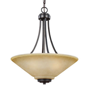 Parkfield Flemish Bronze Three-Light  Up Pendant with Creme Parchment Glass