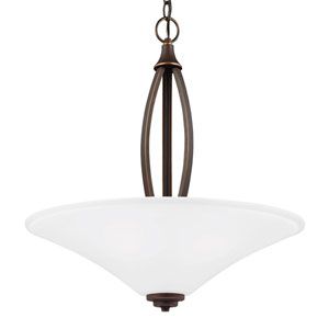 Metcalf Autumn Bronze Three-Light  Up Pendant with Satin Etched Glass