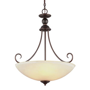 Lemont Burnt Sienna Three-Light  Chandelier with Cafe Tint Glass