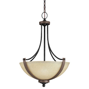Corbeille Stardust and Cerused Oak Three Light Pendant with Creme Parchment Glass