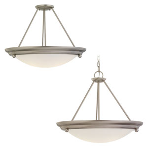 Centra Brushed Stainless Semi-Flush LED Convertible Pendant with Satin White Glass
