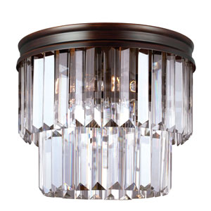 Carondelet Burnt Sienna Two-Light Ceiling Flush Mount with Prismatic Glass