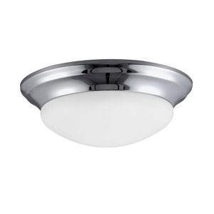 Nash Chrome Small LED Ceiling Flush Mount with Satin Etched Glass