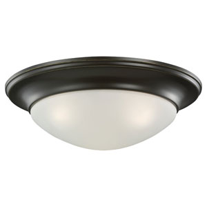 Nash Three-Light Heirloom Bronze Flush Mount with Satin Etched Glass