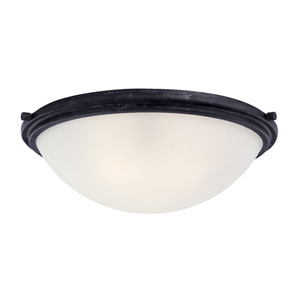 Winnetka Three-Light Blacksmith Flush Mount with Satin Etched Glass