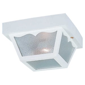 White One-Light Outdoor Flush Mount