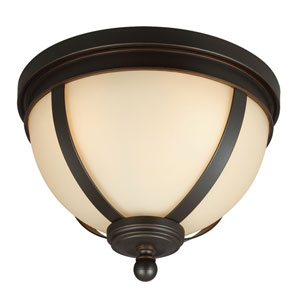 Sfera Autumn Bronze Three Light Fixture Flush Mount with Cafe Tint Glass