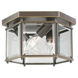Bretton Heirloom Bronze Three-Light Bound Glass Ceiling Light