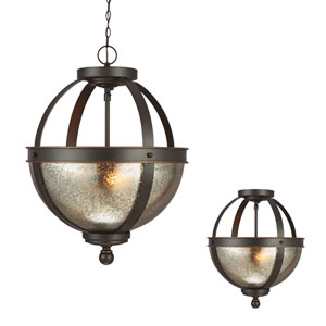 Sfera Autumn Bronze Two Light Semi-Flush Convertible Pendant with Mercury Glass