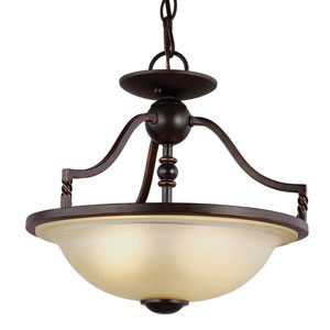 Trempealeau Roman Bronze Two-Light  Semi-Flush Convertible Pendant with Champagne Seeded Glass
