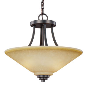 Parkfield Flemish Bronze Two-Light  Semi-Flush Convertible Pendant with Creme Parchment Glass