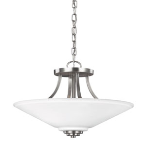 Parkfield Brushed Nickel Two-Light  Semi-Flush Convertible Pendant with Etched Glass
