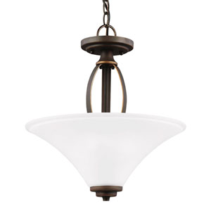 Metcalf Autumn Bronze Two-Light  Semi-Flush Convertible Pendant with Satin Etched Glass